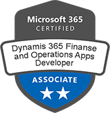 Microsoft Certified: Dynamics 365: Finance and Operations Apps Developer Associate