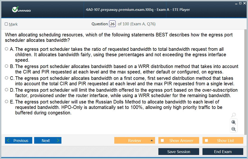 Test Simulator Nokia Quality of Service 4A0-107 Exam Dump PDF