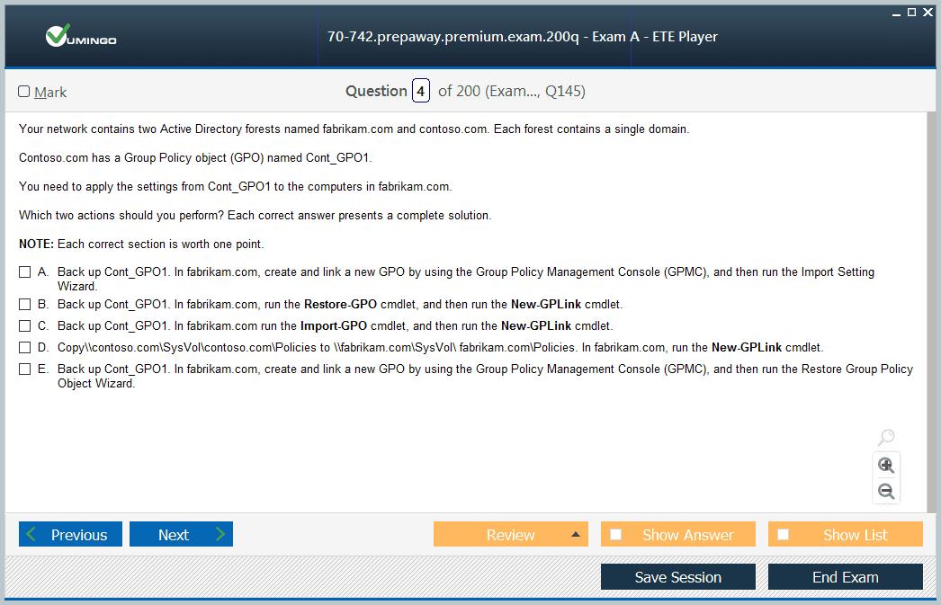 Microsoft MCSA 70-742 Exam Dumps, 70-742 Practice Test Questions