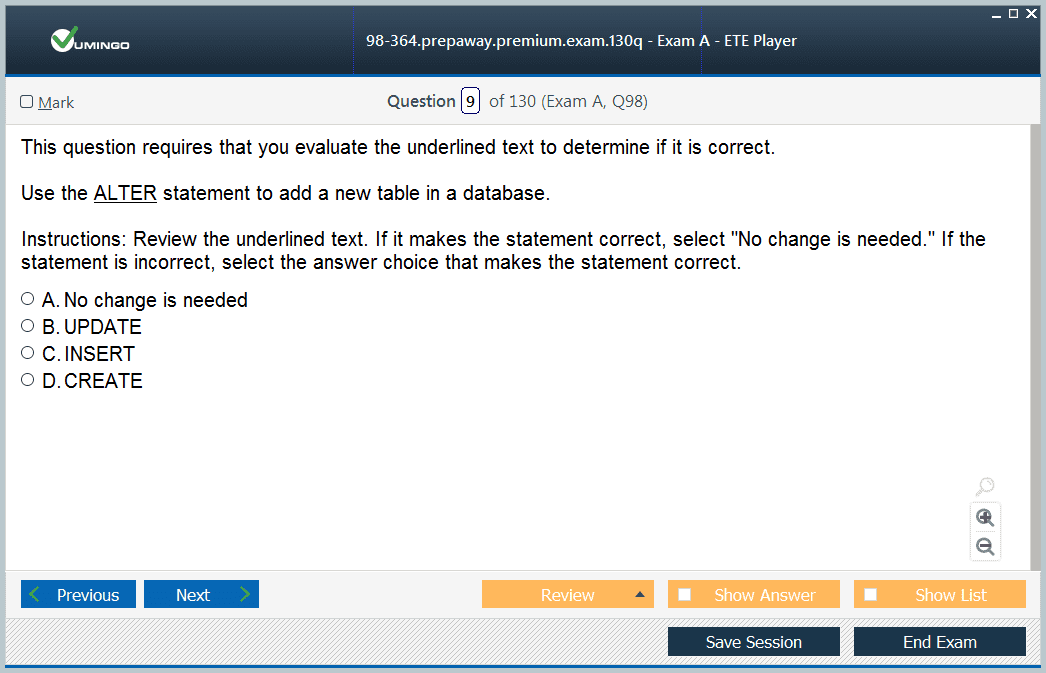 98-364 Exam Screenshot #2