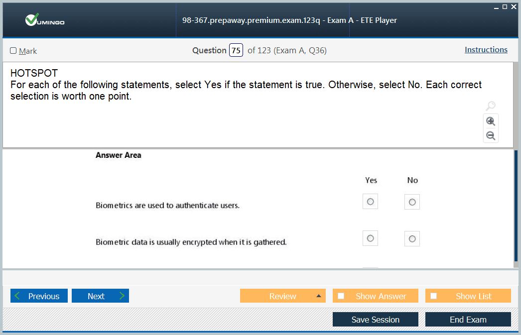 Exam Screenshot #3