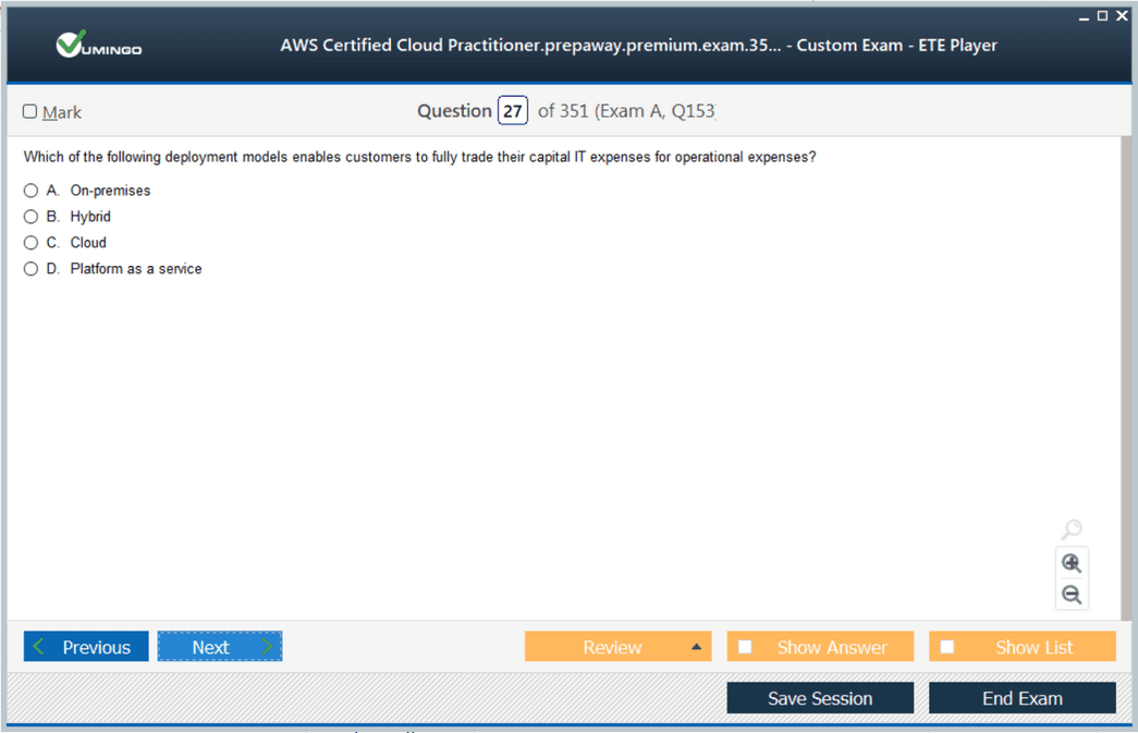 AWS Certified Cloud Practitioner Exam Screenshot #1