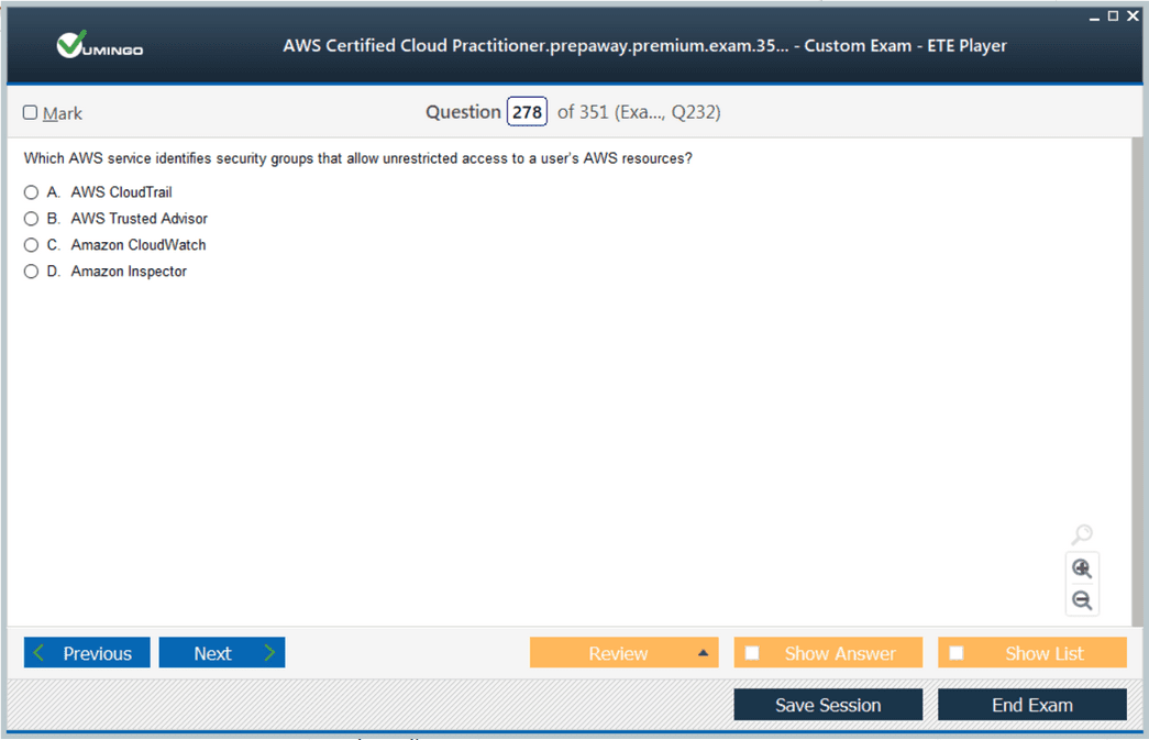 AWS Certified Cloud Practitioner Exam Screenshot #2
