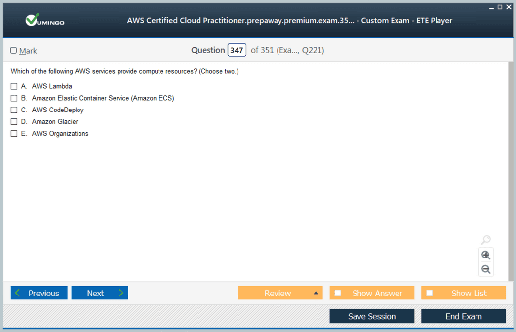 AWS Certified Cloud Practitioner Exam Screenshot #4
