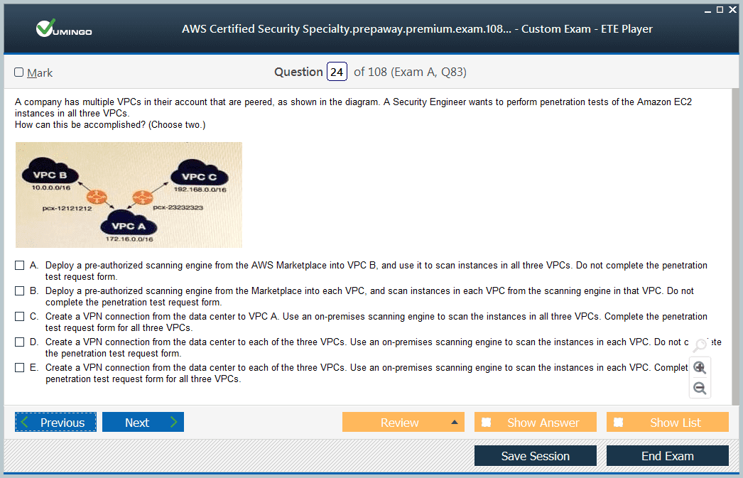 AWS Certified Security - Specialty Exam Screenshot #2