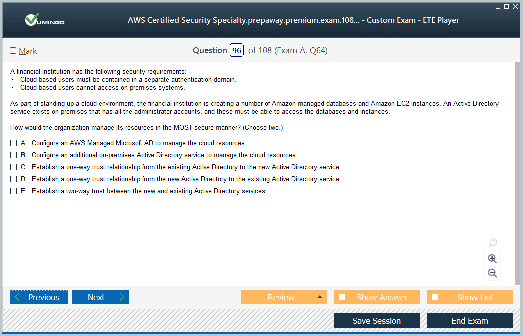 AWS Certified Security - Specialty Exam Screenshot #3