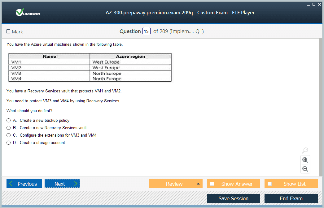 AZ-300 Exam Screenshot #1