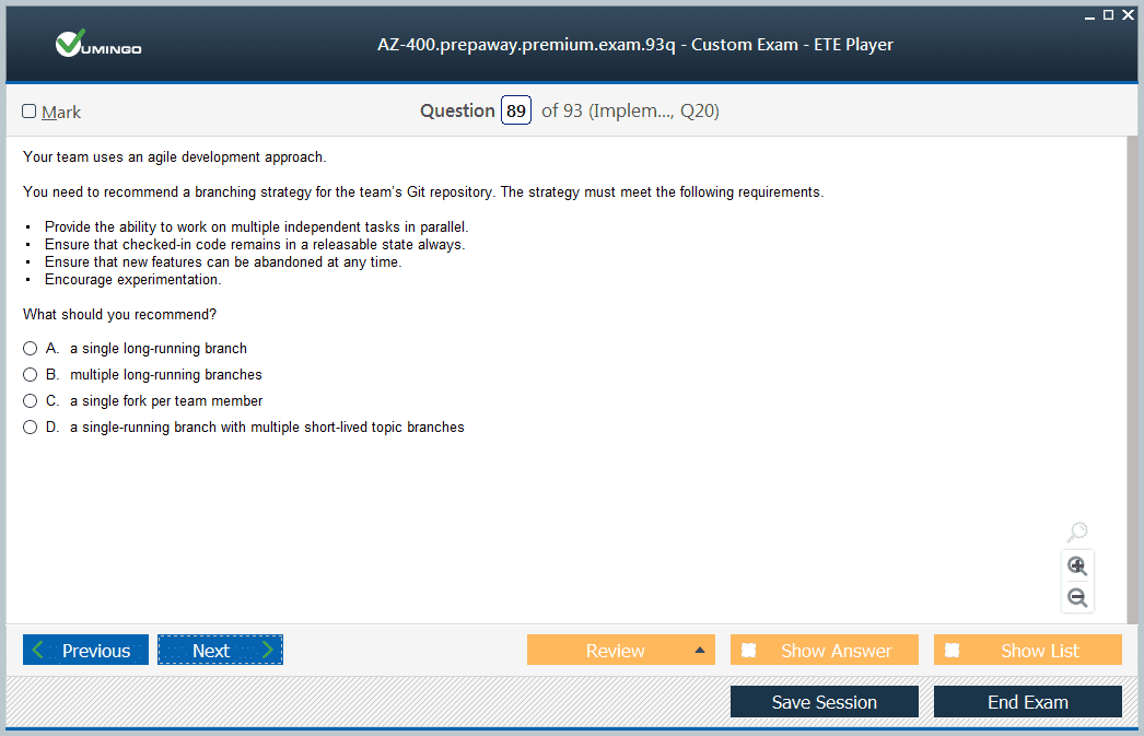 AZ-400 Exam Screenshot #3