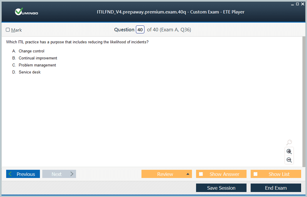 ITILFND V4 Exam Screenshot #4